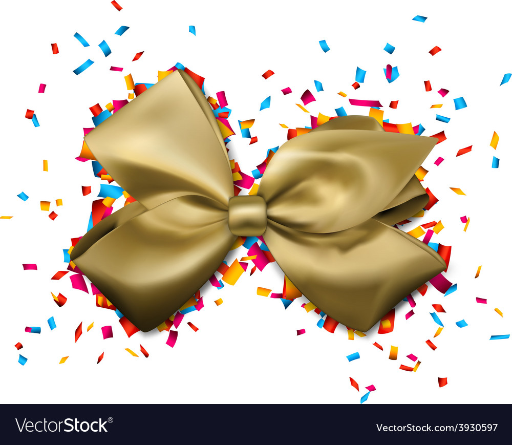 Golden gift bow over colorful confetti vector | Price: 1 Credit (USD $1)