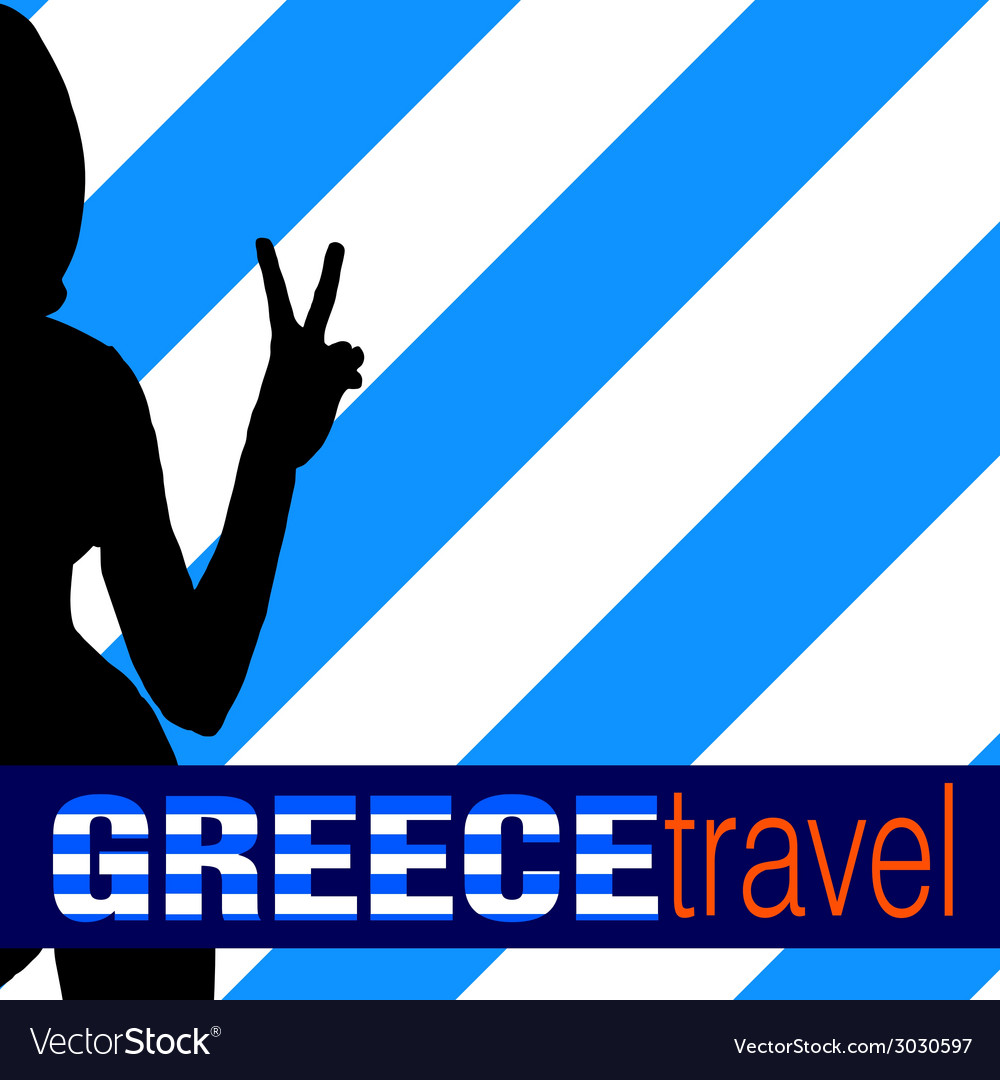 Greece travel with girl and two finger vector | Price: 1 Credit (USD $1)