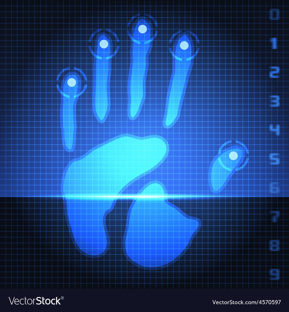 Hand print scanner vector | Price: 1 Credit (USD $1)