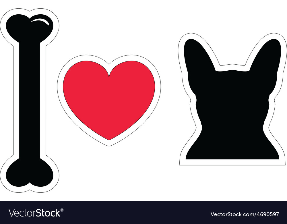 I love french bulldog with black shape dog vector | Price: 1 Credit (USD $1)