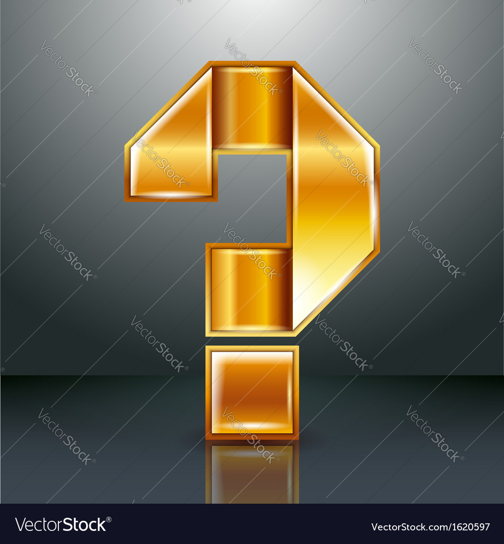 Letter metal gold ribbon - question mark vector   Price: 1 Credit (USD $1)