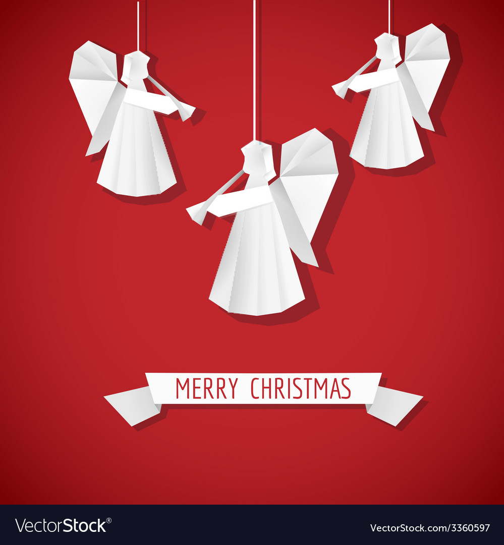 Origami paper angel - christmas background vector | Price: 1 Credit (USD $1)
