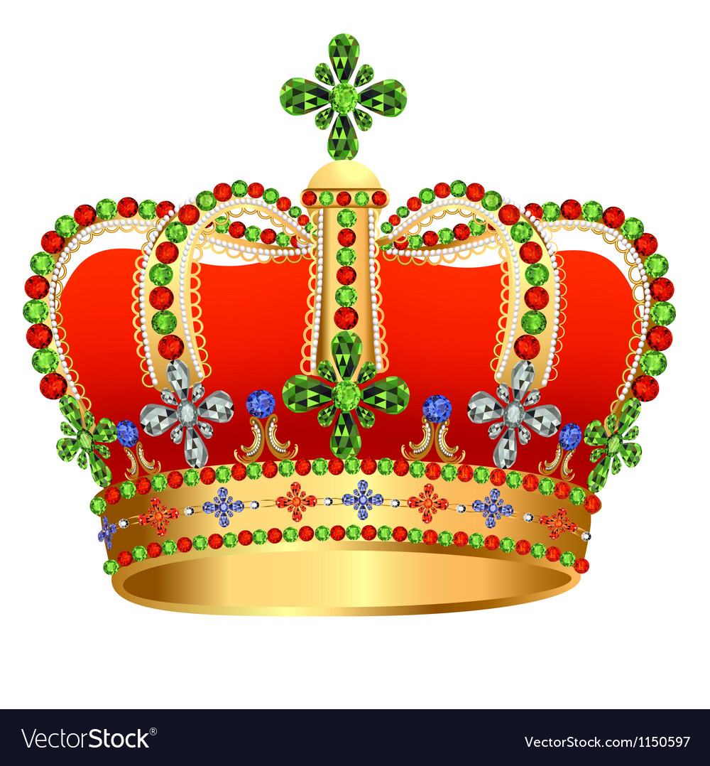 Royal gold crown with jewels vector | Price: 1 Credit (USD $1)