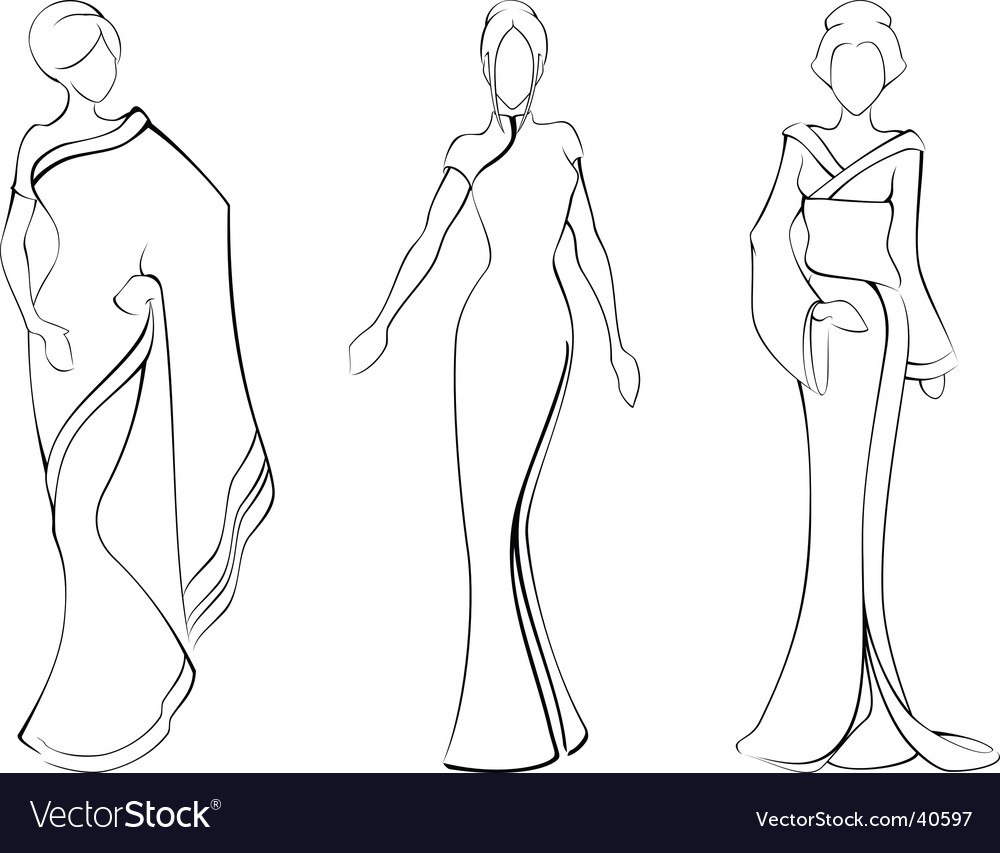 Sketches of traditional asian costumes vector