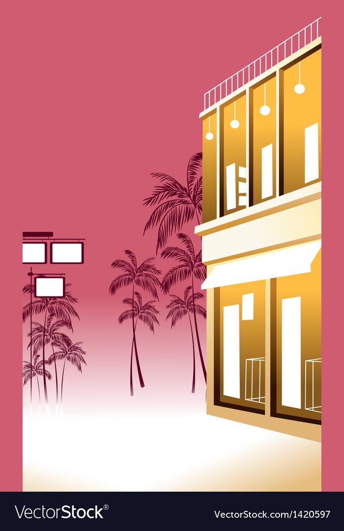 Tropical street scene vector | Price: 1 Credit (USD $1)