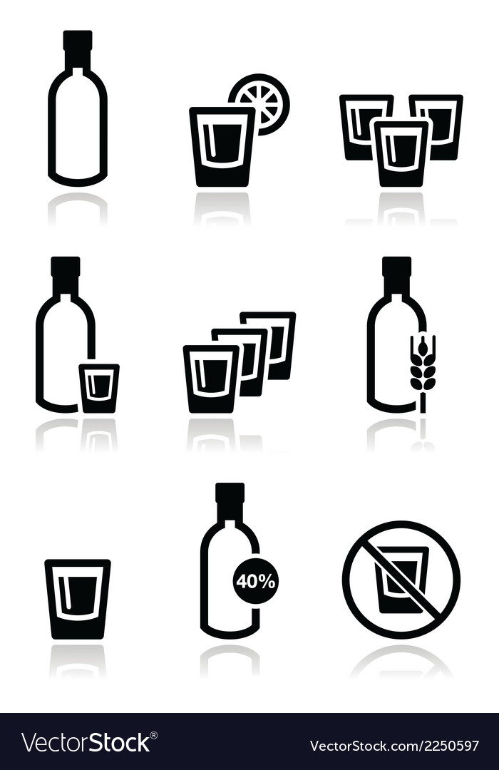 Vodka strong alcohol icons set vector | Price: 1 Credit (USD $1)