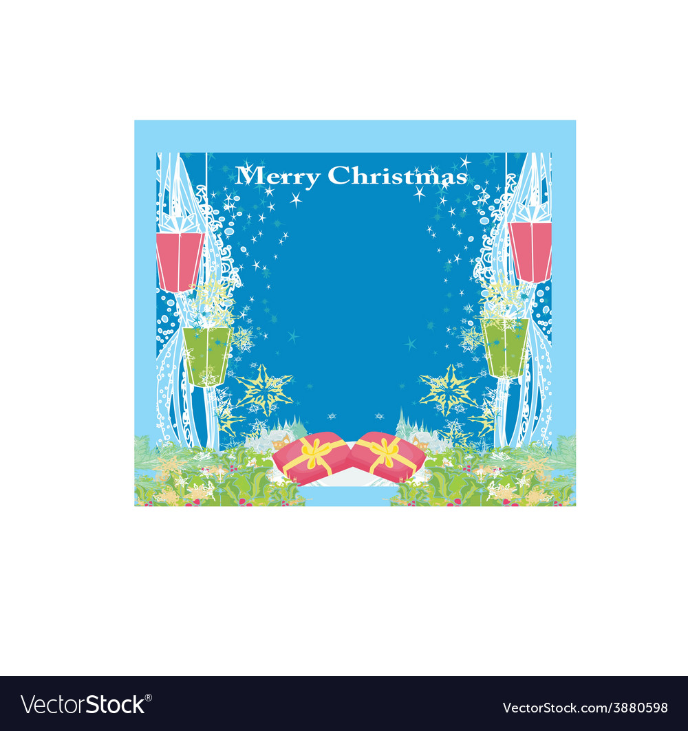 Abstract christmas card star gifts snow vector | Price: 1 Credit (USD $1)