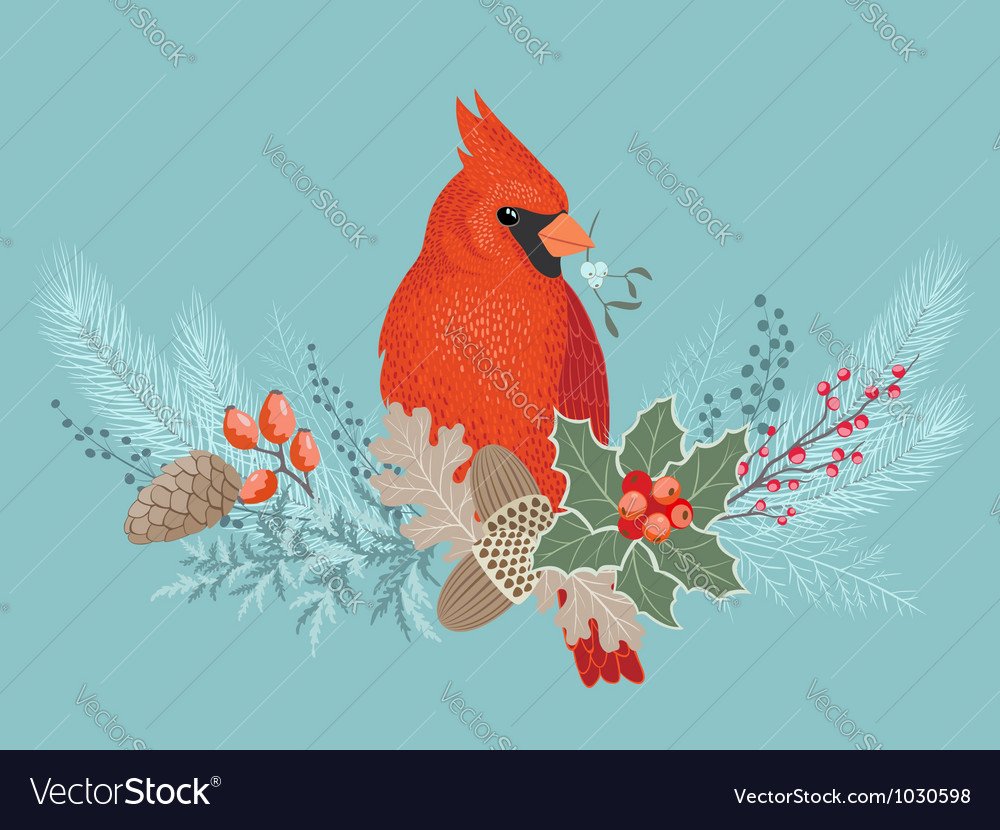 Cardinal on christmas garland vector | Price: 3 Credit (USD $3)