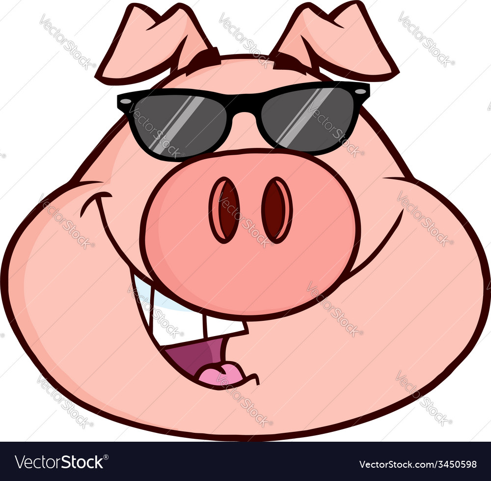 Cartoon pig with glasses vector | Price: 1 Credit (USD $1)