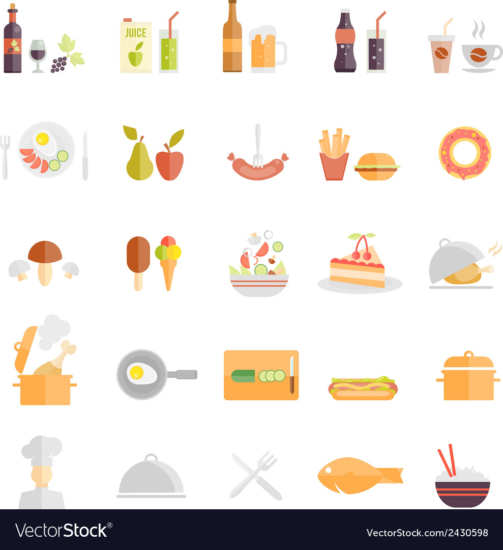 Large set of food and beverage icons vector | Price: 1 Credit (USD $1)