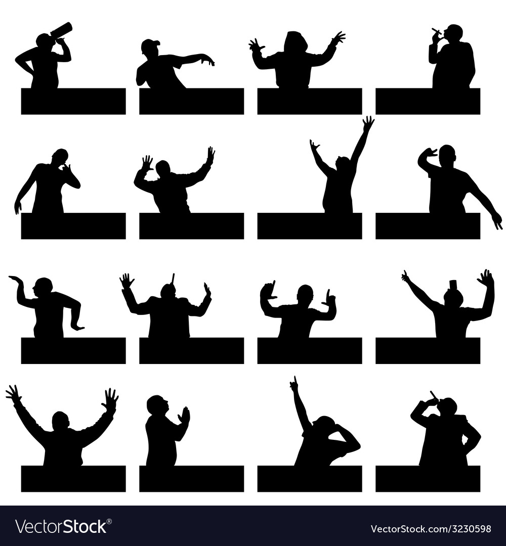 Man in various poses on black silhouette vector | Price: 1 Credit (USD $1)