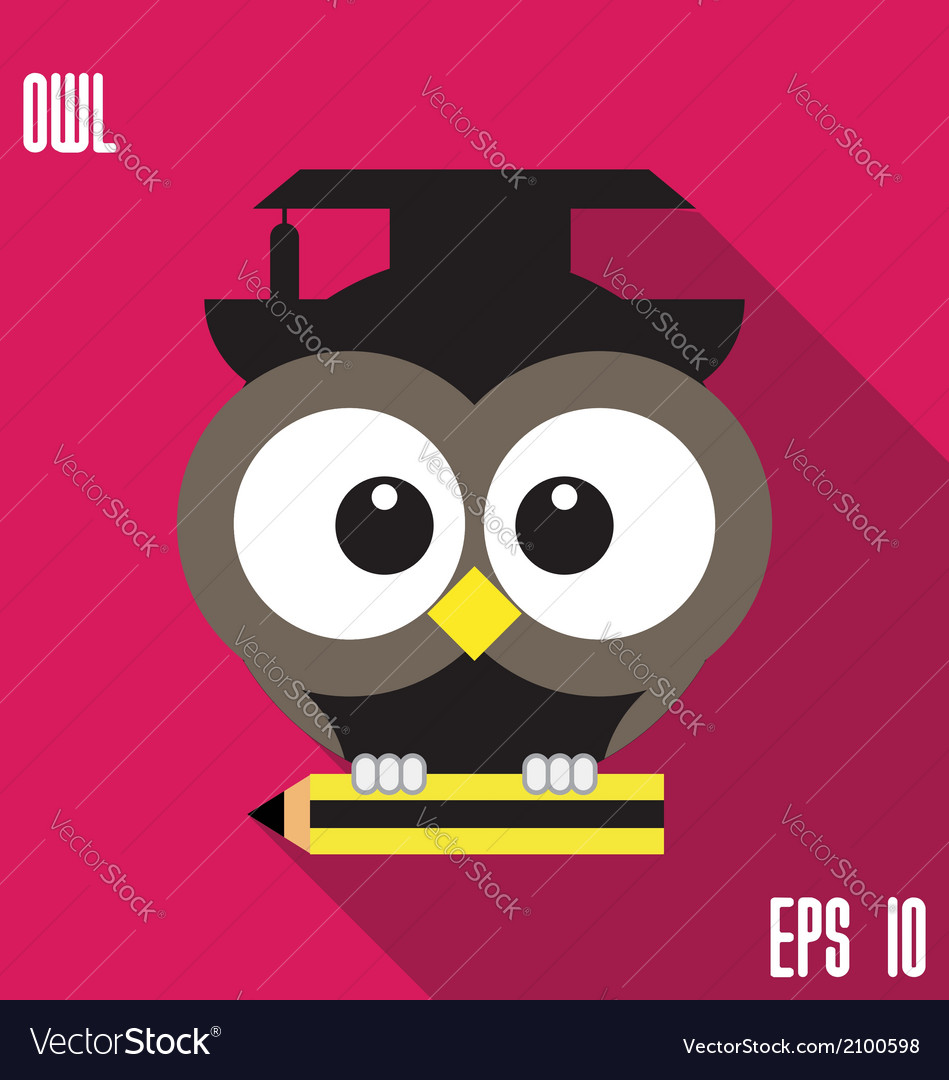 Owl and pencil vector   Price: 1 Credit (USD $1)