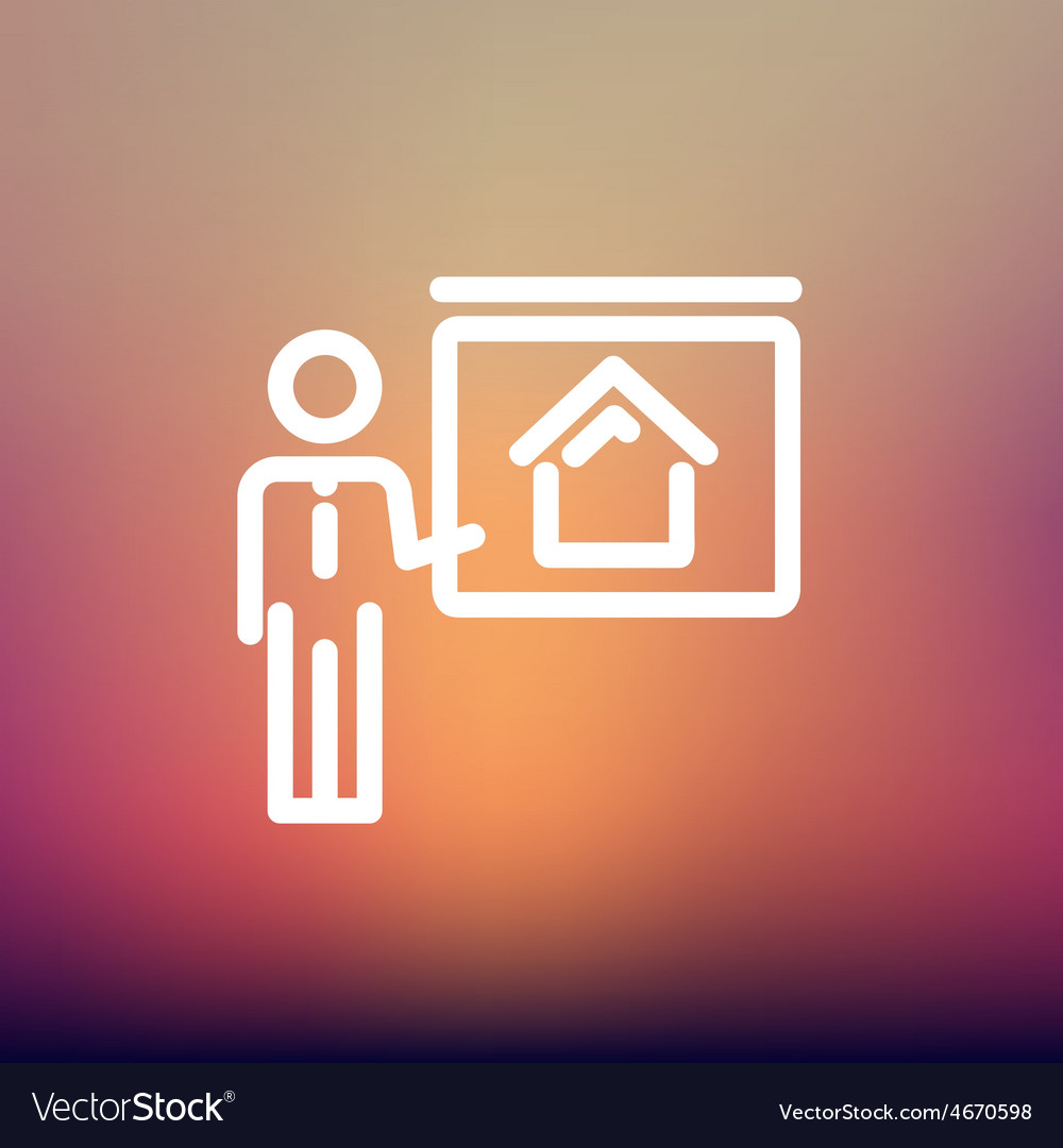 Real estate training thin line icon vector | Price: 1 Credit (USD $1)