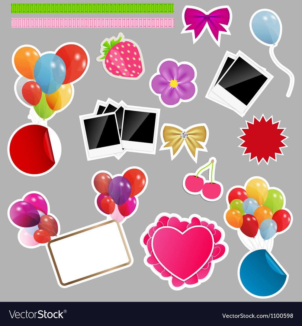 Set of scrapbook elements vector | Price: 1 Credit (USD $1)
