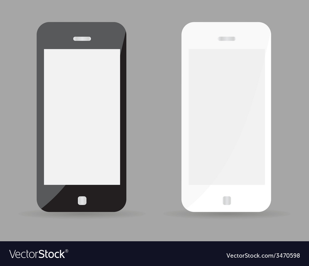 Two realistic smartphone concept - black and white vector | Price: 1 Credit (USD $1)