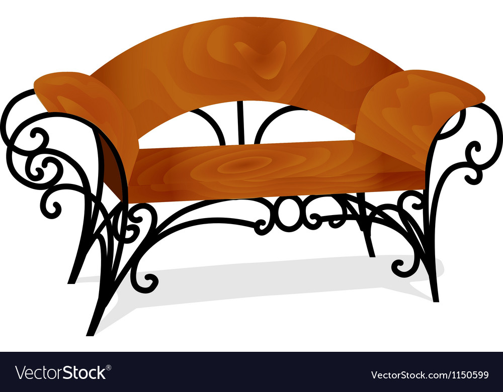 A wooden bench with delicate legs vector | Price: 1 Credit (USD $1)