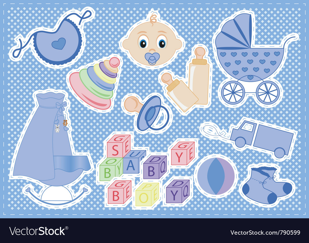 Baby boy items vector | Price: 1 Credit (USD $1)