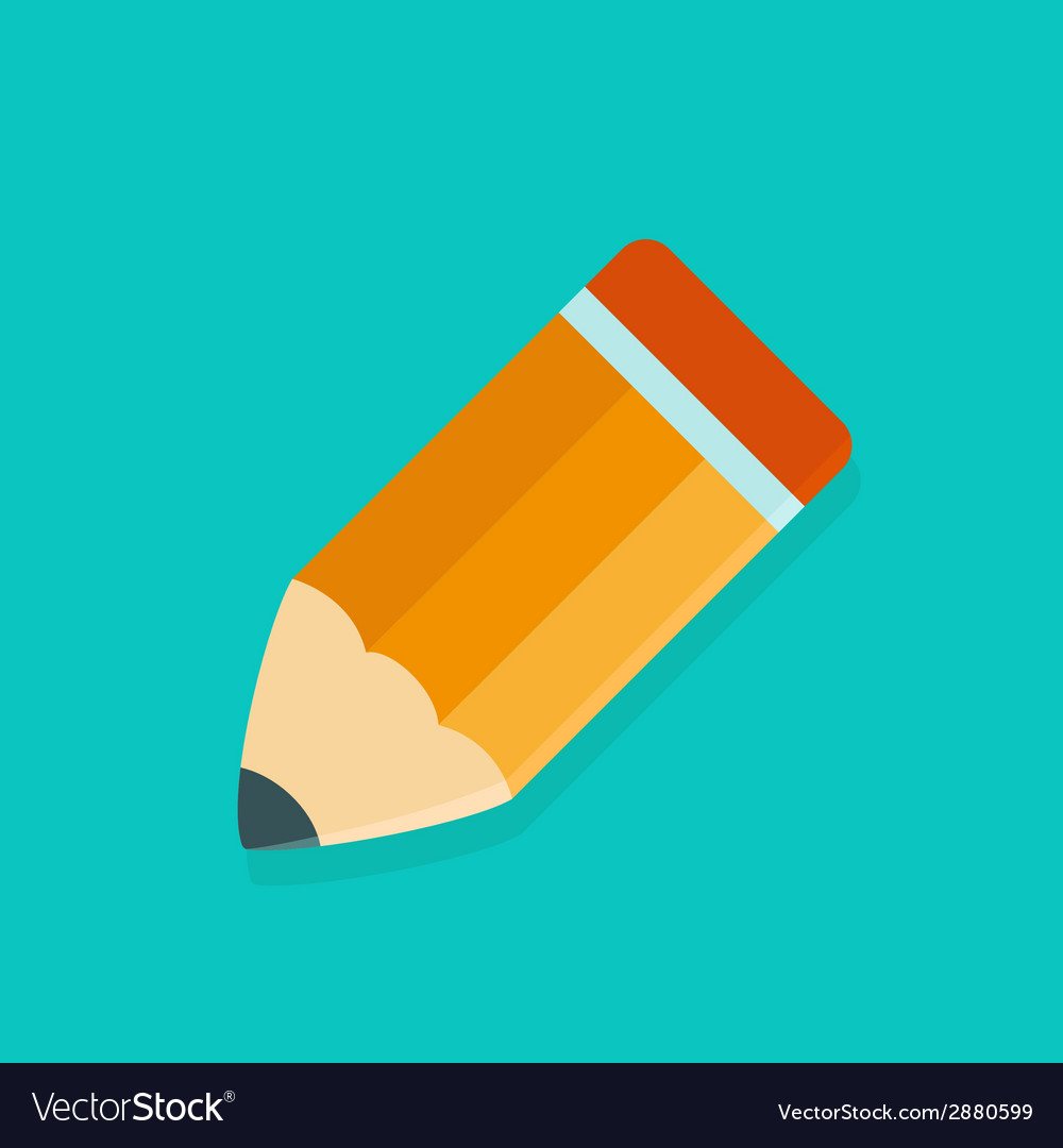Big orange pencil icon over green vector | Price: 1 Credit (USD $1)