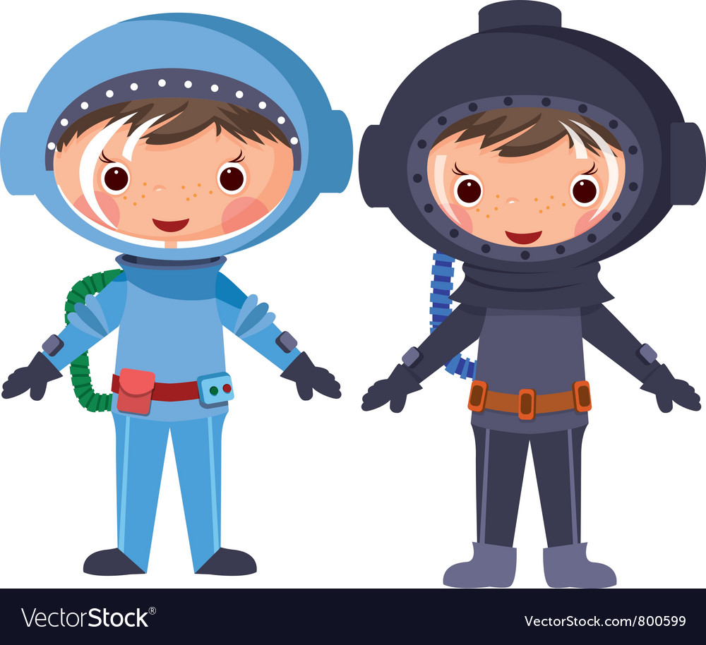 Cartoon astronaut and diver vector | Price: 3 Credit (USD $3)
