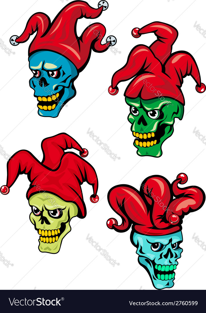 Cartoon clown and joker skulls vector | Price: 1 Credit (USD $1)
