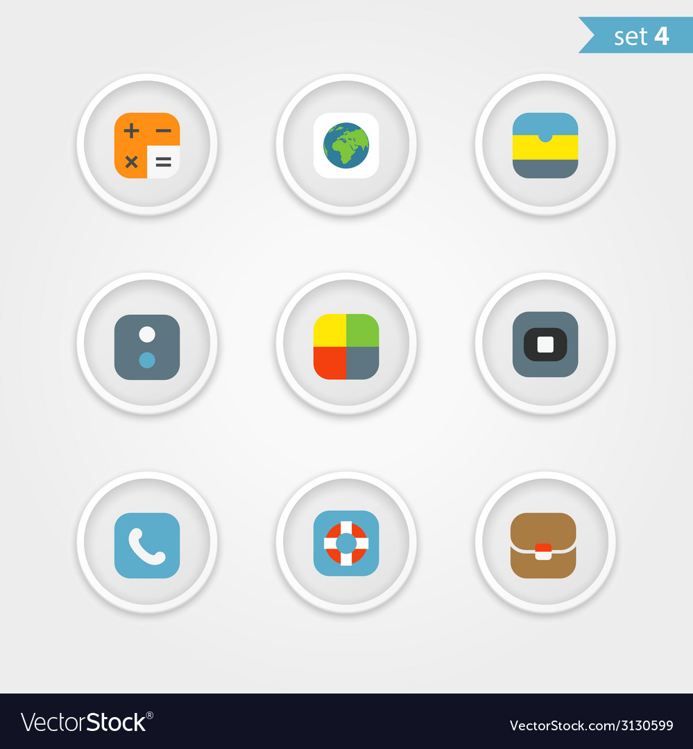 Color interface icons collection vector | Price: 1 Credit (USD $1)