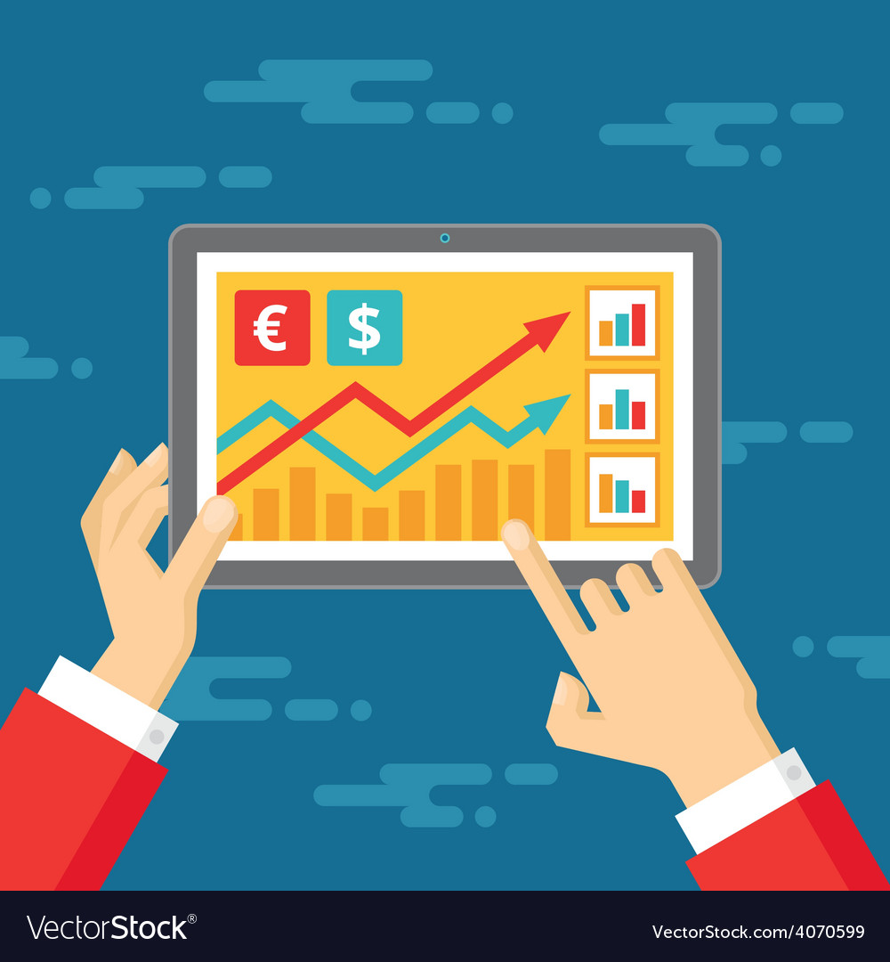 Exchange rates - human hands and tablet vector | Price: 1 Credit (USD $1)