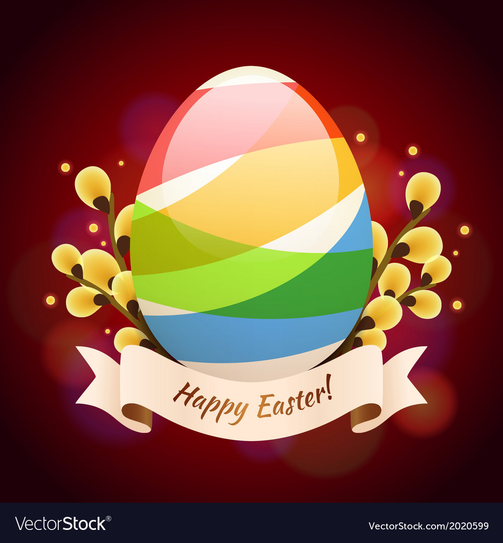 Happy easter greening card with colored egg vector   Price: 1 Credit (USD $1)