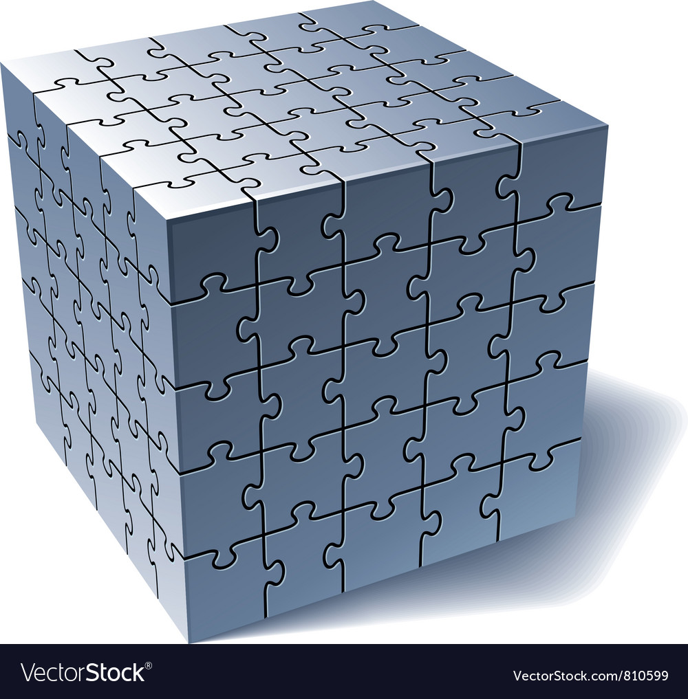 Jigsaw puzzle cube vector | Price: 3 Credit (USD $3)