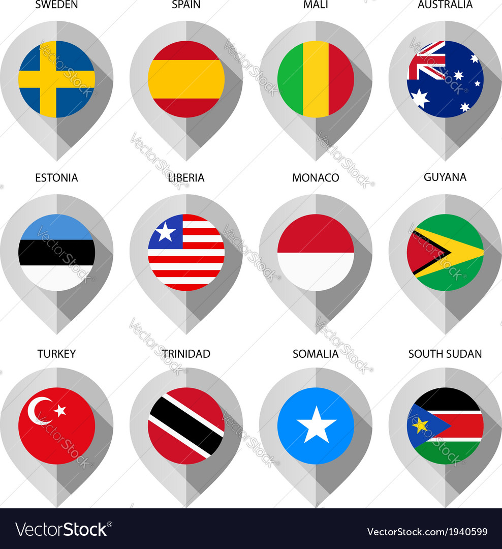 Marker from paper with flag for map  set third vector