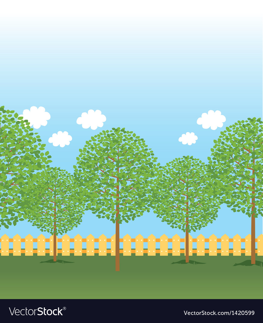 Park tree rows vector | Price: 1 Credit (USD $1)