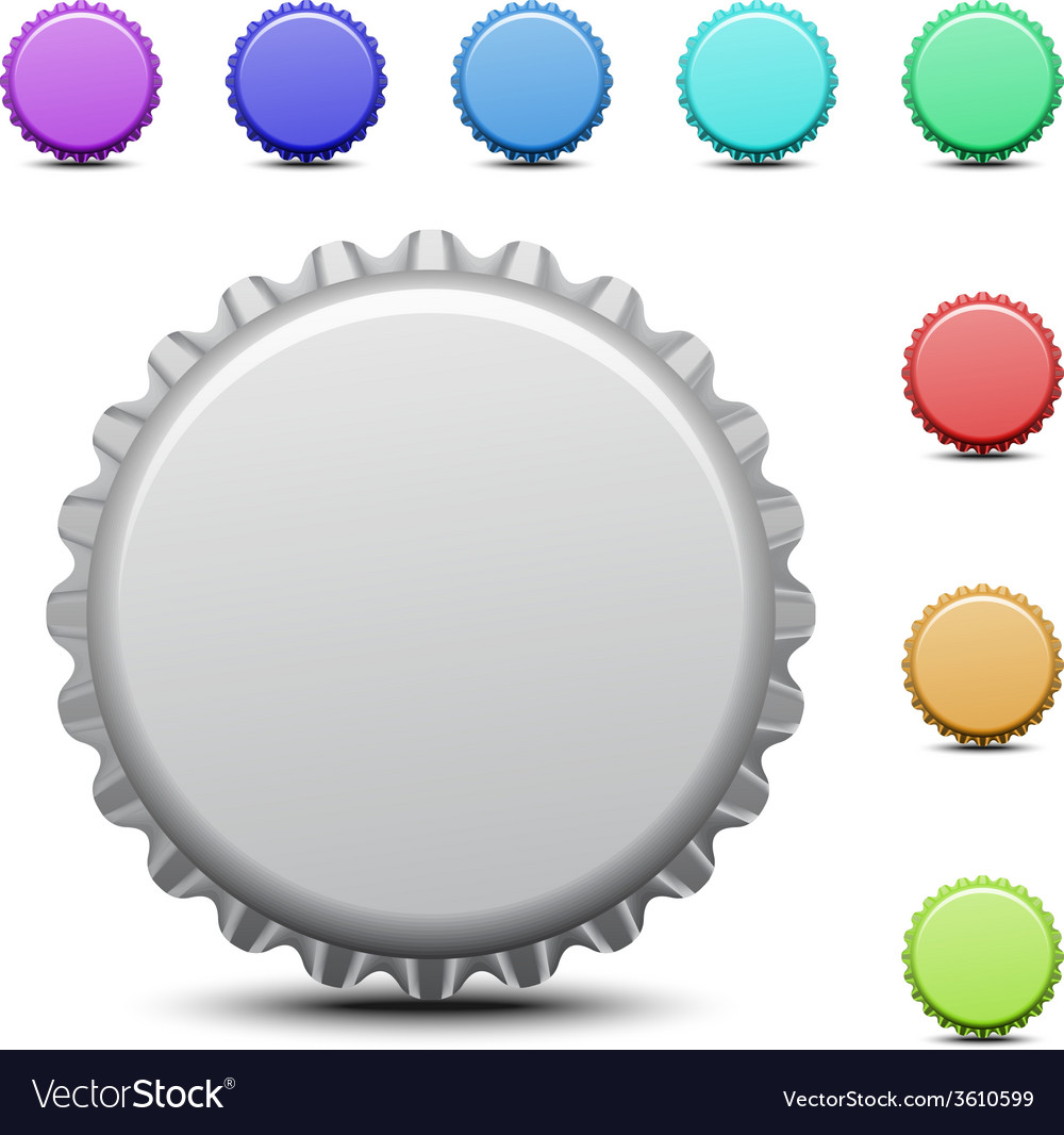 Realistic colorful bottle caps vector | Price: 1 Credit (USD $1)