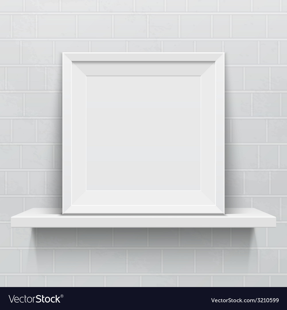 Realistic picture frame on white realistic shelf vector | Price: 1 Credit (USD $1)