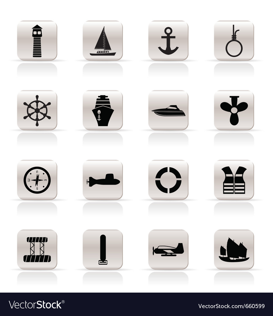 Simple marine and sea icons vector | Price: 1 Credit (USD $1)