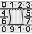 Vintage numbers set and knitted frame background vector