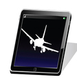 Tablet with white airplane vector