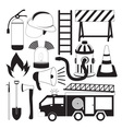 Firefighting tools icon set vector