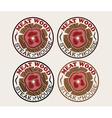 Meat wood emblems set vector