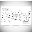 Set of vertical banners molecule structure gray vector