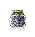 Jar with blueberry jam sketch for your design vector