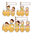Cartoon family train vector