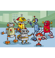 Robots group cartoon vector