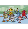 Robots group cartoon vector