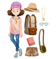 Hipster girl and things vector