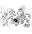 Robots group cartoon coloring page vector