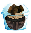 A transparent container with a chocolate cupcake vector