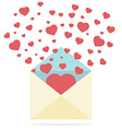 Hearts spread outside mails envelope vector