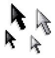 Cursor black and white variations vector
