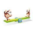 Monkeys on a seesaw vector