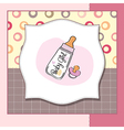 New baby girl announcement card with milk bottle vector