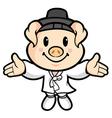 Korean welcoming cartoon character vector